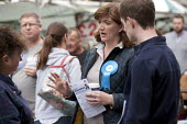 Nicky Morgan MP canvassing in the streets of Loughborough, Leicestershire - John Harris - 25-04-2015