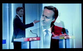A transition showing Ed Miliband, Labour Party debating with David Cameron Conservatives, Leanne Wood, Plaid Cymru. Stills from a TV showing The ITV Leaders' Debate watched by more than 7 million, UK... - John Harris - 02-04-2015
