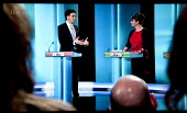 Ed Miliband, Labour Party, Leanne Wood, Plaid Cymru and studio audience. Stills from a TV showing The ITV Leaders' Debate watched by more than 7 million, UK General Election Campaign television progra... - John Harris - 02-04-2015