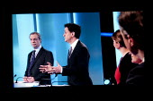 Nigel Farage UKIP, Ed Miliband, Labour Party. Stills from a TV showing The ITV Leaders' Debate watched by more than 7 million, UK General Election Campaign television program. - John Harris - 02-04-2015