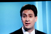 Ed Miliband, Labour Party. Stills from a TV showing The ITV Leaders' Debate watched by more than 7 million, UK General Election Campaign television program. - John Harris - 02-04-2015
