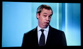Nigel Farage UKIP. Stills from a TV showing The ITV Leaders' Debate watched by more than 7 million, UK General Election Campaign television program. - John Harris - 02-04-2015