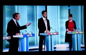 Nigel Farage UKIP, Ed Miliband Labour Party, Leanne Wood, Plaid Cymru. Stills from a TV showing The ITV Leaders' Debate watched by more than 7 million, UK General Election Campaign television program. - John Harris - 02-04-2015