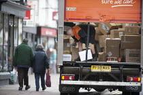 Driver unloading a delivery, Stratford upon Avon, Wawickshire - John Harris - 29-04-2013