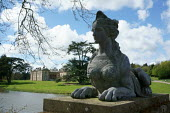 Sphinx, half woman, half lion on a bridge, Compton Verney country house art gallery, Warwickshire - John Harris - 03-05-2015