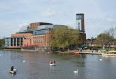 The Royal Shakespeare Theatre, and tourists in boats on the river Avon, Stratford upon Avon, Warwickshire - John Harris - 04-05-2015