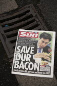 Front page of The Sun with a photograph showing Ed Miliband eating a bacon sandwich with the headline Save our Bacon, don't swallow his porkies and keep him out- suggesting the electorate should not v... - John Harris - 2010s,2015,against,anti,Anti Semitism,anti-Semitism,bigotry,campaign,campaigning,CAMPAIGNS,candidate,candidates,CONSERVATIVE,Conservative Party,conservatives,democracy,Demonisation,demonise,demonised,