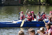 Racing each other. Pupils Bellboating on the river Avon, St Richard's First School, Evesham - John Harris - 2010s,2015,activities,Bellboat,Bellboating,Bellboats,boat,boating,boats,child,CHILDHOOD,children,EDU,educate,educating,Education,educational,EMOTION,EMOTIONAL,EMOTIONS,female,females,girl,girls,happin