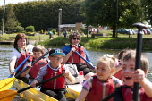 Pupils Bellboating on the river Avon, St Richard's First School, Evesham - John Harris - , St Richards First School,2010s,2015,activities,activity,Bellboat,Bellboating,Bellboats,boat,boating,boats,child,CHILDHOOD,children,class,communicating,communication,EDU Education,having fun,juvenile