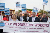 Adrian Bailey MP and Tom Watson MP Keep Wednesbury Working. CWU activists and members protest outside Dixons Carphone distribution centre, Wednesbury against 500 job losses - John Harris - 12-06-2015
