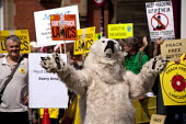 Polar bear, The Frack Stops Here! Protest lobby against Fracking in Lancashire where the council is meeting to consider an application by Gas exploration company Cuadrilla to do so. Preston - John Harris - 23-06-2015