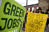 Green Jobs. The Frack Stops Here! Protest lobby against Fracking in Lancashire where the council is meeting to consider an application by Gas exploration company Cuadrilla to do so. Preston - John Harris - 29-04-2013