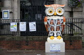 The Big Hoot Owl of Athena sculpture outside Kings Heath Library Birmingham. A public art project in aid of Birmingham Children's Hospital - John Harris - 26-07-2015