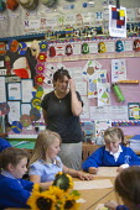 Primary school, St Richards First School, Evesham, Worcestershire - John Harris - 2010s,2015,art,child,CHILDHOOD,children,class,communicating,communication,draw,drawing,employee,employees,Employment,FEMALE,job,jobs,juvenile,juveniles,kid,kids,LBR,lesson,lessons,pedagogy,people,pers