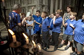 School pupils visiting Worcester Cathedral, Worcestershire - John Harris - 25-06-2015