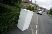 Fridge dumped on the pavement, housing estate, Stratford upon Avon - John Harris - 2010s,2015,abandoned,anti social behavior,antisocial behaviour,behavior,behaviour,Council Services,Council Services,domestic,dump,dumped,dumping,ENI,environment,Environmental degradation,Environmental