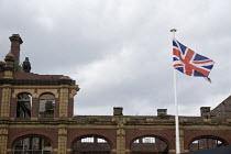 Union Jack and Victorian facarde of Birmingham Co Op factory, Belmont Row, Birmingham Eastside, area of transformation - John Harris - 27-06-2015