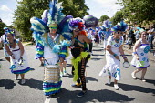 Unison dancers and drummers, Tolpuddle Martyrs Festival. Dorset - John Harris - 19-07-2015