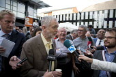 Jeremy Corbyn Rally Nottingham speaking to the media economist Richard Murphy (r) - John Harris - 20-08-2015