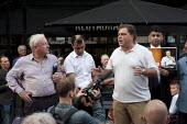 Jeremy Corbyn Rally Nottingham economist Richard Murphy Manuel Cortes TSSA speaking to overflow rally outside - John Harris - 20-08-2015