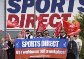 Unite campaign against Victorian work practices at Sports Direct, Shirebrook. A Workhouse not a workplace - John Harris - 2010s,2015,activist,activists,against,Agency Workers,banner,banners,campaign,campaigner,campaigners,campaigning,CAMPAIGNS,contract,contracts,DEMONSTRATING,Demonstration,DEMONSTRATIONS,EARNINGS,EQUALIT