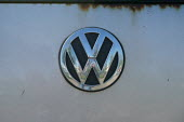 VW badge on a Golf. Volkswagen scandal of false diesel emmisson test results - John Harris - 2010s,2015,Air Pollution,Air Quality,AUTO,auto industry,AUTOMOBILE,AUTOMOBILES,automotive,badge,badges,car,Car Industry,carindustry,cars,degradation,EBF,Economic,Economy,emissions,emmisson,emmissons,E