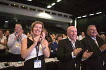 GMB delegates applauding Jeremy Corbyn MP speaking TUC conference Brighton - John Harris - 15-09-2015