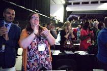 NAPO delegates applauding Jeremy Corbyn MP speaking TUC conference Brighton - John Harris - 15-09-2015