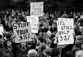 British Leyland workers mass meeting rejecting 3.8% pay offer and continue their strike Longbridge car plant, Birmingham 1982 - John Harris - ,1980s,1982,AUTO,AUTOMOBILE,AUTOMOBILES,Automotive,Birmingham,capitalism,capitalist,car,Car Industry,carindustry,CARS,claim,Democracy,disputes,EARNINGS,FACTORIES,factory,INDUSTRIAL DISPUTE,Industries,