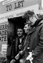 British Leyland engineering workers picket, 1982 Leyland, Lancashire. On strike against redundancies - John Harris - 1980s,1982,against,CLOSED,closing,closure,closures,DISPUTE,DISPUTES,economic,economy,ENGINEER,engineering,engineers,INDUSTRIAL DISPUTE,job loss,jobs,loss,losses,member,member members,members,people,pi