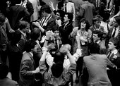 Traders dealing at the International Financial Futures Exchange, The City of London, 1982 so called Yuppies - John Harris - 10-12-1982