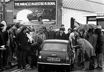 Striking British Leyland BL car workers picketing during dispute Cowley Oxford, Alan Thornet is on the left. - John Harris - 1980s,1983,Austin Rover,automotive,Automotive Industry,BL,British Leyland,car industry,car plant,carindustry carindustry,dispute,DISPUTES,INDUSTRIAL DISPUTE,industrial relations,man men,member,member
