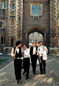 Students leaving May Balls Cambridge. ... - John Harris - 1980s,1983,AFFLUENCE,AFFLUENT,Alcohol,Balls,Bourgeoisie,drink,drinking,EDU education,elite,elitism,EQUALITY,high,high income,Higher Education,income,INCOMES,INEQUALITY,leaving,LFL lifestyle & leisure,