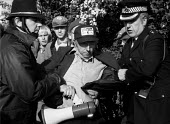 Police arresting Arthur Scargill NUM leader at the Orgreave coking works picket during miners strike Sheffield - John Harris - 1980s,1984,adult,adults,ARREST,ARRESTED,arresting,Arthur,Battle of Orgreave,BSC Coking Plant,CLJ,coke,DISPUTE,DISPUTES,INDUSTRIAL DISPUTE,leader,Mass Picket,MATURE,member,member members,members,MINER,