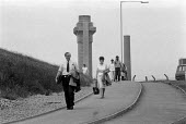 Workers leaving at the end of their shift. BNFL radioactive waste reprocessing plant at Sellafield (formally Windscale) British Nuclear Fuels Ltd. Cumbria - John Harris - 26-07-1986