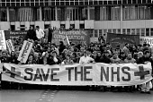 Hospital patents join with Nurses, Ancillary staff and other Health workers protest outside Liverpool Royal Hospital in a day of action in support of funding the NHS: Save the NHS 1988 - John Harris - 10-02-1988