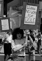 Demonstration against Workfare, working for unemployment benefit, Sheffield 1988 - John Harris - 16-06-1988