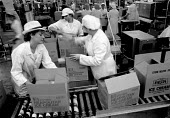 Packing on the production line. Ice cream Fiesta Foods Ltd factory West Midlands - John Harris - ,1980s,1988,capitalism,capitalist,EARNINGS,EBF economy business,EQUALITY,FACTORIES,factory,female,food,FOODS,Income,INCOMES,Industries,industry,inequality,job,jobs,LAB LBR work,living wage,Low Pay,Low