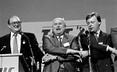 Clive Jenkins ASTMS Norman Willis TUC and John Monks TUC singing Auld lang syne at the close of TUC Conference 1988 - John Harris - 09-09-1988