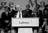 Neil Kinnock joking during a speech at the start of the general election campaign Red Rose Rally Birmingham Town Hall - John Harris - ,1980s,1989,Birmingham,funny,Humor,HUMOROUS,humour,JOKE,JOKES,joking,Labour Party,LAUGH,laughing,LAUGHTER,MP,MPs,Neil Kinnock,POL,POL politics,political,politician,politicians,Politics,rallies,Rally,s