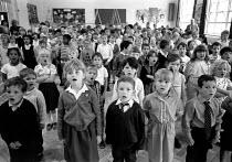 assembly, Gunter Road Primary School Birmingham 19.7.89 - John Harris - 1980s,1989,assembly,Birmingham,child,CHILDHOOD,children,cities,city,EDU education,highway,junior,juvenile,juveniles,kid,kids,people,Road,ROADS,school,SCHOOLS,singing,standing,urban,West Midlands,young