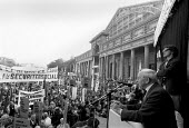 Jack Jones pensioners leader speaking ETUC rally for an EU Social Charter of workers rights, Brussels 1989 - John Harris - 18-10-1989