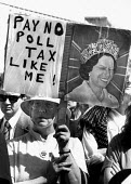 Pay no Poll Tax like me! Anti Poll Tax protest with a winking Queen Elizabeth II, Bristol - John Harris - 1990,1990s,activist,activists,against,anti,CAMPAIGN,campaigner,campaigners,CAMPAIGNING,CAMPAIGNS,DEMONSTRATING,Demonstration,DEMONSTRATIONS,FEMALE,older,people,person,persons,Protest,PROTESTER,PROTEST