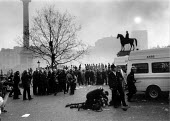 Police and demonstrators Poll Tax riot Trafalgar Square London - John Harris - 1990,1990s,activist,activists,adult,adults,arrest,ARRESTED,ARRESTING,baton,batons,CAMPAIGN,campaigner,campaigners,CAMPAIGNING,CAMPAIGNS,charge,CLJ law,communities,Community,conflict,conflicts,DEMONSTR