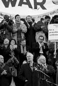 Tony Benn MP Labour speaking in Trafalgar Square. Demonstration against war in the Gulf London - John Harris - 12-01-1991