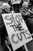 Pensioners protesting at cuts in local council expenditure. Nottingham 1993 - John Harris - 30-10-1993