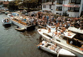 Wealthy relaxing in the sun outside a pub at Henley Royal Regatta Henley on Thames - John Harris - 10-07-1993