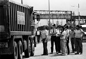 Striking dockers picketing Immingham docks, 1984. The strike was called by the TGWU national docks committee after British Steel used workers who were not registered dockers to unload iron ore at Immi... - John Harris - 10-07-1984