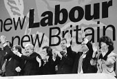 Celebration at the end of Labour Party Conference Larry Whitty Cherie & Tony Blair John Prescott & Mrs. Prescott - John Harris - 1990s,1994,CELEBRATE,CELEBRATING,Celebration,CELEBRATIONS,clapping,Conference,conferences,EMOTION,EMOTIONAL,EMOTIONS,Party,POL politics,SMILE,SMILES,smiling,WELLBEING