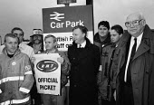 John Monks TUC and railway workers leader Jimmy Knapp join striking signal workers on a picket line during the TUC Blackpool 1994 - John Harris - 30-09-1994